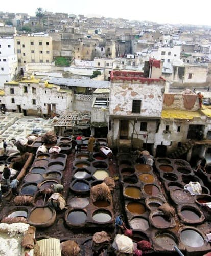 Bowls of Clothing Dye on a Roof