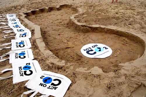 Carbon Footprint on beach