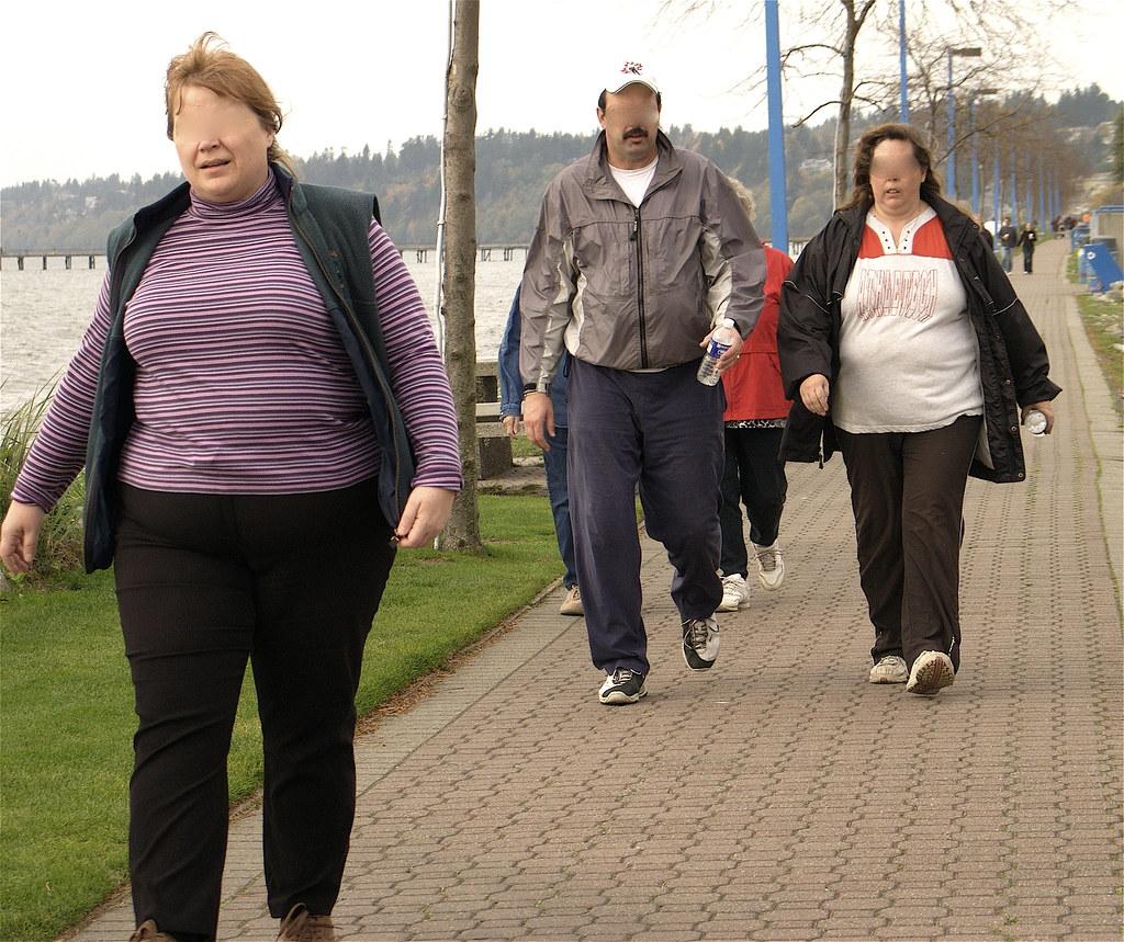 People Walking on boardwalk exercising