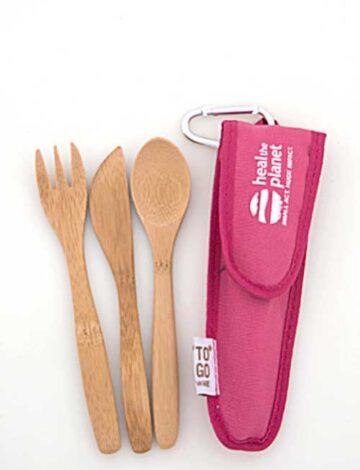 Children's Bambooware Utensil Set (Pink)
